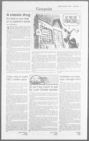 Daily Trojan, Vol. 110, No. 61, December 04, 1989