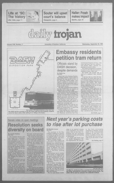 Daily Trojan, Vol. 113, No. 17, September 26, 1990