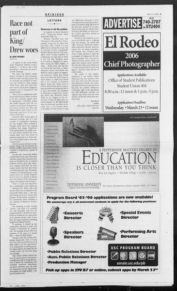 Daily Trojan, Vol. 154, No. 38, March 09, 2005