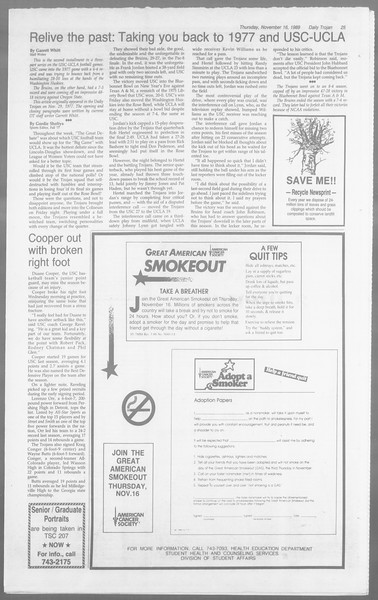 Daily Trojan, Vol. 110, No. 52, November 16, 1989