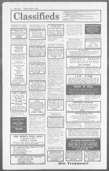 Daily Trojan, Vol. 110, No. 21, October 03, 1989
