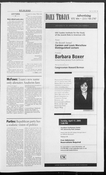 Daily Trojan, Vol. 154, No. 55, April 12, 2005