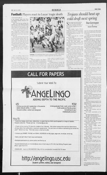 Daily Trojan, Vol. 154, No. 56, April 13, 2005