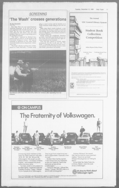 Daily Trojan, Vol. 110, No. 67, December 12, 1989