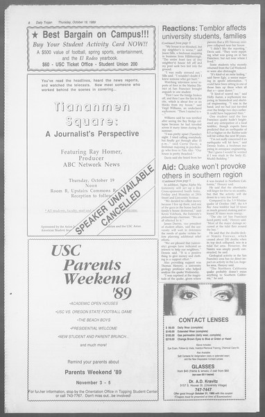 Daily Trojan, Vol. 110, No. 32, October 19, 1989