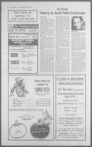 Daily Trojan, Vol. 113, No. 33, October 19, 1990