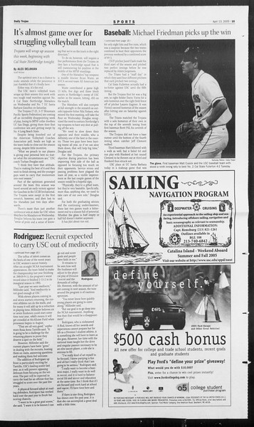 Daily Trojan, Vol. 154, No. 56, April 13, 2005