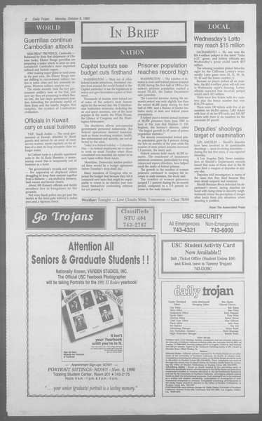 Daily Trojan, Vol. 113, No. 25, October 08, 1990