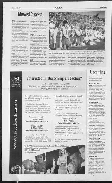 Daily Trojan, Vol. 156, No. 49, October 31, 2005