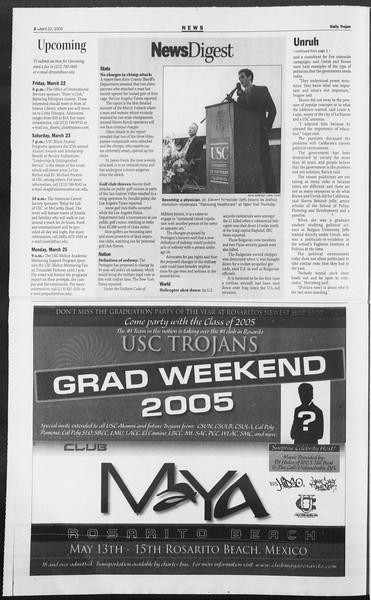 Daily Trojan, Vol. 154, No. 63, April 22, 2005