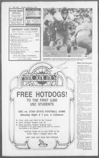 Daily Trojan, Vol. 110, No. 8, September 14, 1989