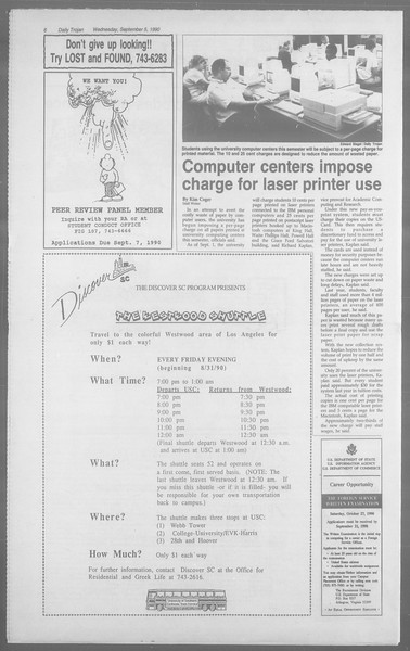 Daily Trojan, Vol. 113, No. 2, September 05, 1990