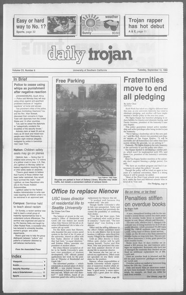 Daily Trojan, Vol. 110, No. 6, September 12, 1989