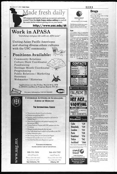 Daily Trojan, Vol. 145, No. 46, March 27, 2002