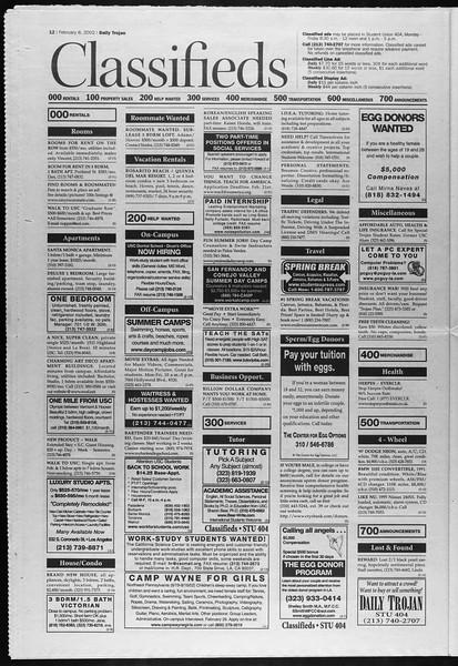 Daily Trojan, Vol. 145, No. 22, February 08, 2002