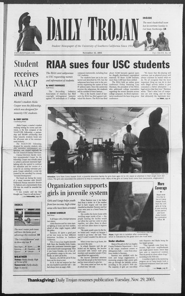 Daily Trojan, Vol. 156, No. 64, November 22, 2005