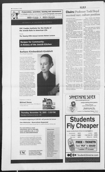 Daily Trojan, Vol. 156, No. 52, November 03, 2005
