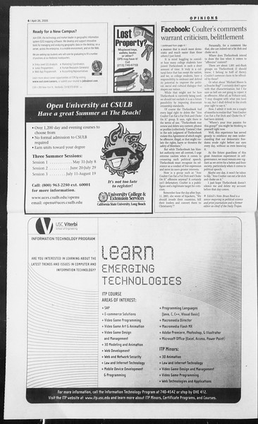 Daily Trojan, Vol. 154, No. 65, April 26, 2005