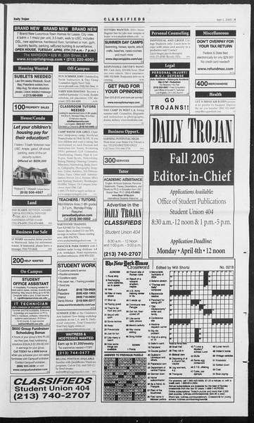 Daily Trojan, Vol. 154, No. 48, April 01, 2005