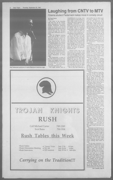 Daily Trojan, Vol. 113, No. 13, September 20, 1990