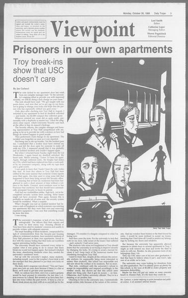 Daily Trojan, Vol. 110, No. 39, October 30, 1989