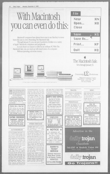Daily Trojan, Vol. 110, No. 61, December 04, 1989