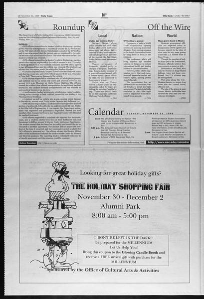 Daily Trojan, Vol. 138, No. 60, November 30, 1999
