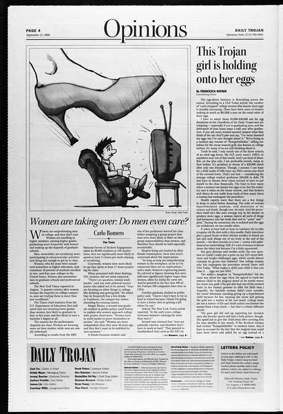 Daily Trojan, Vol. 159, No. 22, September 21, 2006