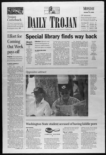 Daily Trojan, Vol. 147, No. 34, October 14, 2002