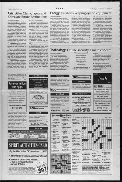 Daily Trojan, Vol. 147, No. 13, September 13, 2002