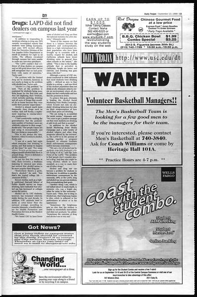 Daily Trojan, Vol. 138, No. 9, September 13, 1999