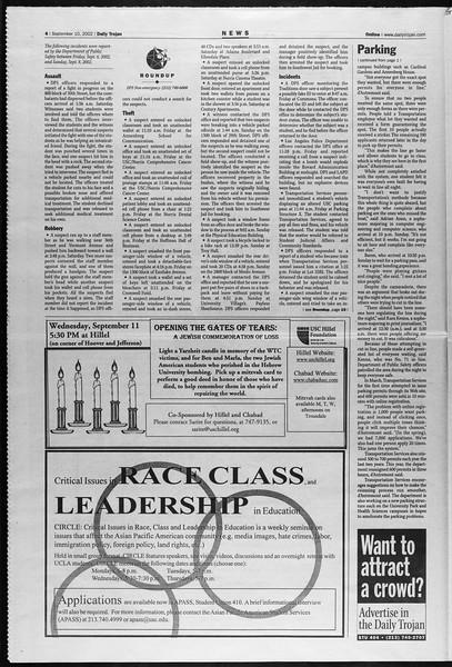 Daily Trojan, Vol. 147, No. 10, September 10, 2002