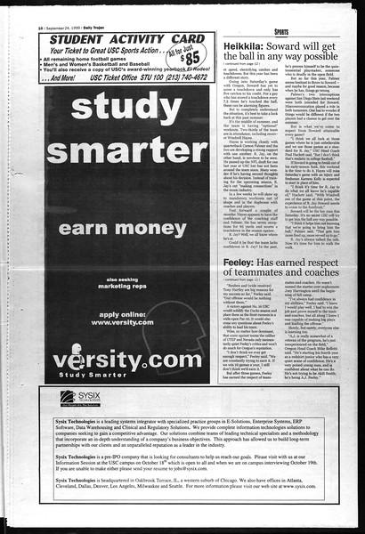 Daily Trojan, Vol. 138, No. 18, September 24, 1999