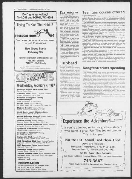 Daily Trojan, Vol. 103, No. 17, February 04, 1987