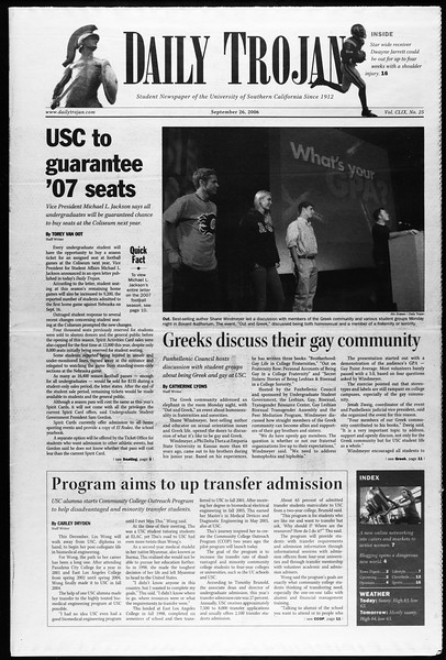 Daily Trojan, Vol. 159, No. 25, September 26, 2006