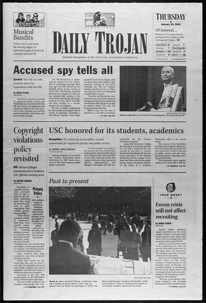 Daily Trojan, Vol. 145, No. 11, January 24, 2002