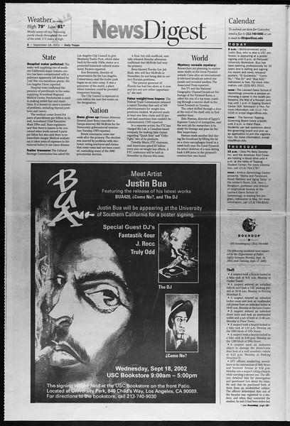 Daily Trojan, Vol. 147, No. 16, September 18, 2002