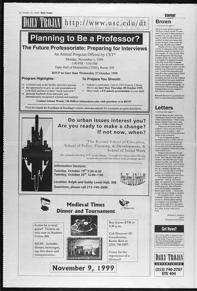 Daily Trojan, Vol. 138, No. 39, October 25, 1999