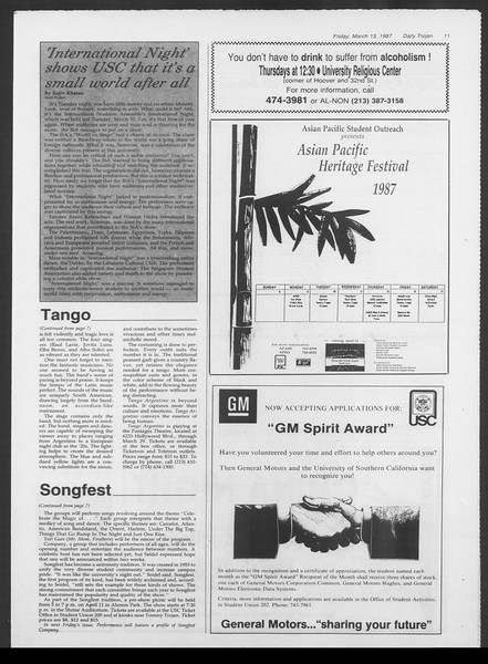 Daily Trojan, Vol. 103, No. 42, March 13, 1987