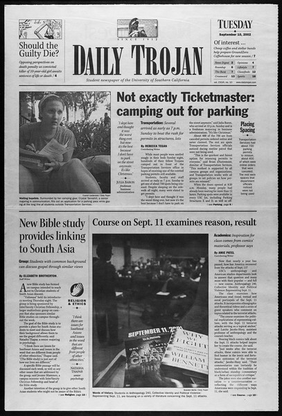 Daily Trojan, Vol. 147, No. 10, September 10, 2002