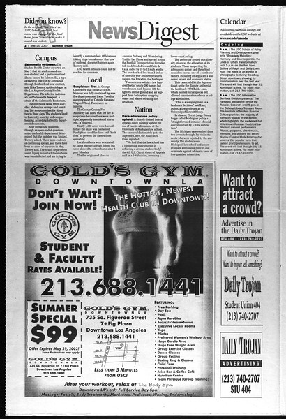 Summer Trojan, Vol. 146, No. 1, May 15, 2002