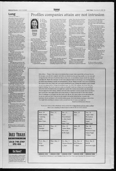 Daily Trojan, Vol. 138, No. 49, November 09, 1999