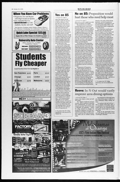 Daily Trojan, Vol. 159, No. 47, October 26, 2006