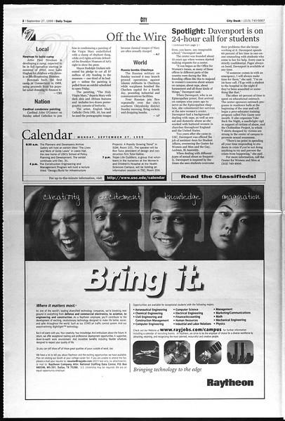 Daily Trojan, Vol. 138, No. 19, September 27, 1999
