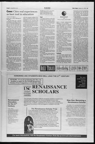 Daily Trojan, Vol. 145, No. 16, January 31, 2002