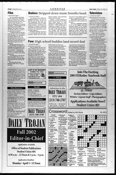 Daily Trojan, Vol. 145, No. 48, March 29, 2002