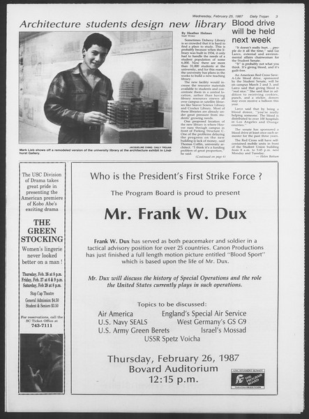 Daily Trojan, Vol. 103, No. 30, February 25, 1987