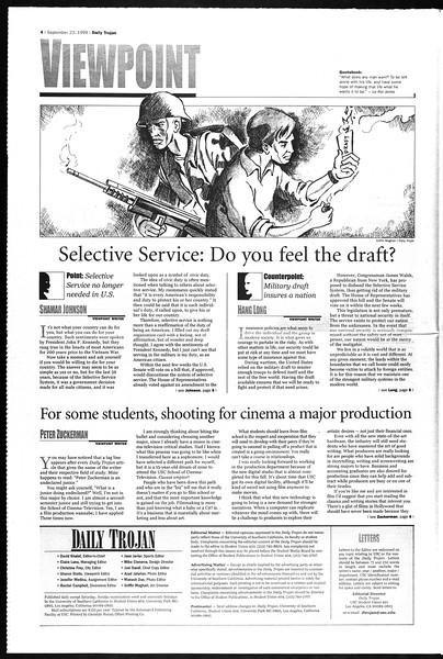 Daily Trojan, Vol. 138, No. 17, September 23, 1999