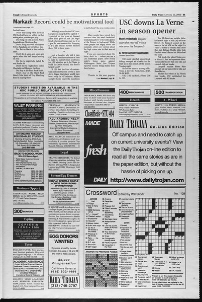 Daily Trojan, Vol. 145, No. 3, January 10, 2002