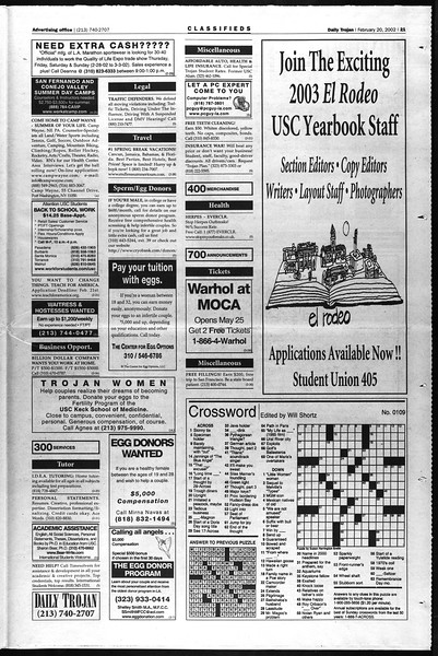 Daily Trojan, Vol. 145, No. 28, February 20, 2002